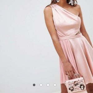 NEW Satin Cut-Out Pleated Mini Dress in Nude Pink